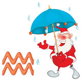 Cute Santa Claus. Astrological Sign in the Zodiac Aquarius Stock Photo