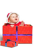 Cute Santa Claus baby boy isolated on white stock photo