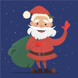 Cute Santa Claus with a bag of gifts waving. Vector Christmas illustration. New Years banner. Stock Photo