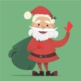 Cute Santa Claus with a bag of gifts waving. Vector Christmas illustration. Stock Photos