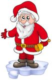 Cute Santa Claus with bell on snow Stock Images