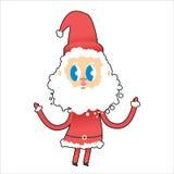 Cute Santa Claus with big eyes. Young Santa raised his hands up. Royalty Free Stock Image