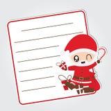 Cute Santa Claus brings Xmas gift  cartoon illustration for Christmas card design. Wallpaper and greeting card Stock Photo