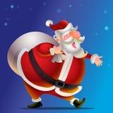 Cute Santa Claus cartoon happy. Carrying sack full of gifts Royalty Free Stock Image