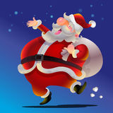 Cute Santa Claus cartoon happy. Dance carrying sack full of gifts Royalty Free Stock Photography