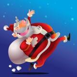 Cute Santa Claus cartoon happy. Run carrying sack full of gifts Royalty Free Stock Image