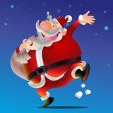 Cute Santa Claus cartoon happy. Say hi carrying sack full of gifts Stock Image