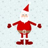 Cute santa claus, christmas card,  illustration, winter background with snowflakes Stock Photo