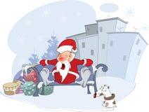Cute Santa Claus and Christmas Stock Photo