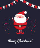 Cute Santa Claus on dark Christmas ornament background with confetti. Stock Images