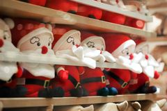 Cute Santa Claus doll group in the room background. royalty free stock photo