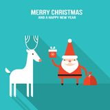 Cute Santa Claus with gift and presents Modern flat design Royalty Free Stock Photo
