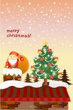 Cute Santa Claus with a gift on the roof - illustration eps10 Stock Photo
