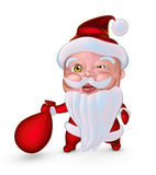 Cute Santa Claus with gifts bag blinks eye (3D illustration) Stock Photos