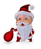 Cute Santa Claus with gifts bag (3D illustration) Royalty Free Stock Photos
