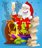 Cute Santa Claus with gifts and champagne Royalty Free Stock Photo