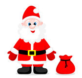 Cute santa claus with gifts. Isolated ba Stock Photo