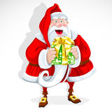 Cute Santa Claus give a gift stock photo