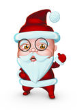 Cute Santa Claus with glasses showing LIKE (3D illustration) Stock Photos