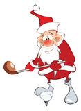 Cute Santa Claus Golfer Cartoon Stock Image