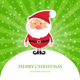 Cute Santa Claus on green ray  christmas background Royalty Free Stock Photos