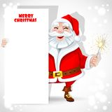 Cute Santa Claus holding banner Stock Images