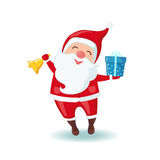 Cute Santa Claus holding a bell and gift. Stock Image