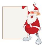 Cute Santa Claus Holding Blank Boa Stock Photos
