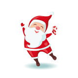 Cute Santa Claus holding Christmas candy. Cute Santa Claus holding Christmas candy in flat style isolated on white background. Vector illustration Stock Photo
