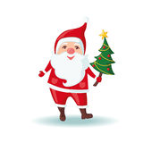 Cute Santa Claus holding a Christmas tree. Royalty Free Stock Images
