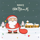 Cute Santa Claus holding gift sack on winter night background. Stock Image