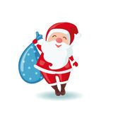 Cute Santa Claus holding a sack of gifts. Stock Images