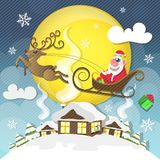Cute Santa Claus. Magic silent night. Cute Santa Claus with gifts is coming down holding giant Christmas. Seasons Greetings concept Royalty Free Stock Image