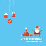 Cute Santa Claus New Year Christmas Holiday greeting card Flat design Royalty Free Stock Photos