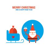 Cute Santa Claus with presents gift bag and sleigh Royalty Free Stock Image