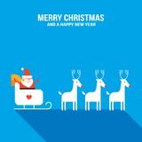 Cute Santa Claus with presents, sledge and deers Royalty Free Stock Photography