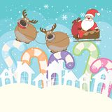 Cute Santa Claus and reindeer cartoon characters. stock illustration