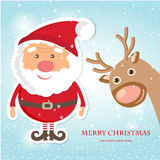 Cute Santa Claus and Reindeer on christmas background with lights and snowflakes. Royalty Free Stock Photos