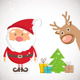 Cute Santa Claus and Reindeer on christmas background with lights and snowflakes. Royalty Free Stock Images