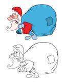 Cute Santa Claus and Sack Full Royalty Free Stock Image
