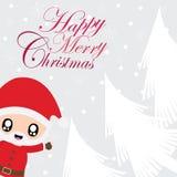 Cute Santa Claus say hello on snow fall  cartoon illustration for Christmas card design. Wallpaper and greeting card Stock Photos