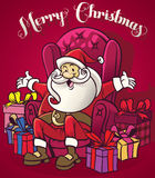 Cute santa claus sit at the chair surrounding with a bunch of ch. Vector of Cute santa claus sit at the chair surrounding with a bunch of ch Royalty Free Stock Images