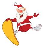 Cute Santa Claus and Skateboard Stock Images