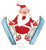 Cute Santa Claus Ski Jumping Stock Photography