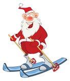 Cute Santa Claus Ski Jumping Stock Image