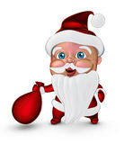 Cute Santa Claus smiling with gifts bag (3D illustration) Royalty Free Stock Photography