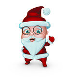 Cute Santa Claus smiling with gifts glasses (3D illustration) Royalty Free Stock Image