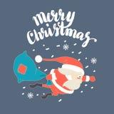 Cute Santa Claus Superman flying with Christmas sack in snow. Vector illustration Cute Santa Claus Superman flying with Christmas sack in snow Stock Image
