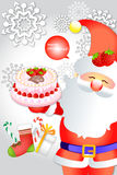 Cute santa clause holding delicious cake on snowflake background - vector eps10 Stock Photos