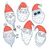 Cute Santa Clauses vector set. Can be printed and used as Christmas, New Year, Xmas template, card, placard, design element etc Stock Photography